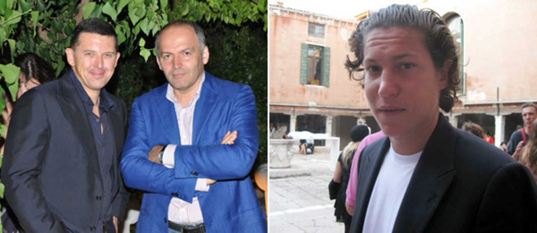Left: Collectors Oleg Baibakov and Victor Pinchuk. (Photo: Andy Guzzonatto) Right: Curator Vito Schnabel. (Photo: Kate Sutton)
