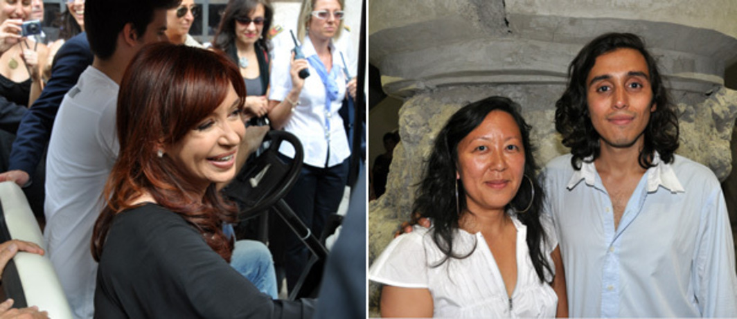 Left: Cristina Elisabet Fernández de Kirchner, president of Argentina. Right: New Museum curator Eungie Joo and artist Adrián Villar Rojas. (Photos: Andy Guzzonatto)