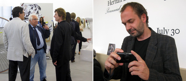 Left: Collector Peter Brant with dealers Tony Shafrazi and Eva Presenhuber. Right: Artist Artur Żmijewski. (Photos: Kate Sutton)