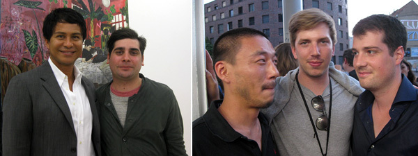 Left: Dealer Glenn Scott Wright with artist Hernan Bas. Right: Artists Kim Seob Boninsegni and Tobias Madison and friend. (Photos: Kate Sutton)