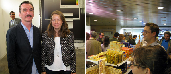 Left: Dealers Darren Flook and Christabel Stewart at Liste. Right: The gas station VIP lounge. (Photo: Kate Sutton)