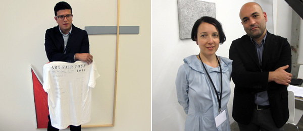 Left: Dealer James Fuentes at Liste. Right: Dealers Paola Guadagnino and Marco Altavilla of T293 Gallery at Liste.