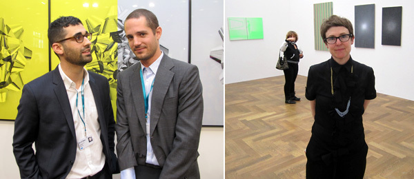 Left: Dealers David Kordansky and Stuart Krimko. Right: Artist R. H. Quaytman.