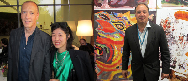 Left: Artist Christian Marclay and curator Lydia Yee. Right: Dealer Roland Augustine.