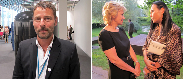 Left: Dealer Burkhard Riemschneider. Right: Newsweek and Daily Beast editor Tina Brown with Eva Chow.