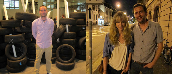 Left: Artist Gardar Eide Einarsson. Right: Artists Nina Beier and Simon Dybbroe Møller.