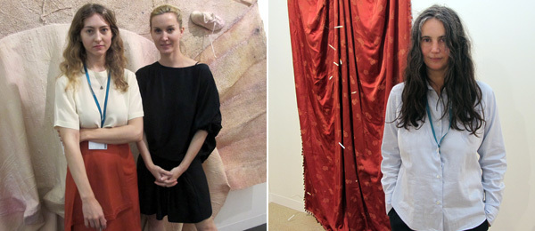Left: Dealer Kristina Kite and artist Kaari Upson. Right: Dealer Isabella Bortolozzi.