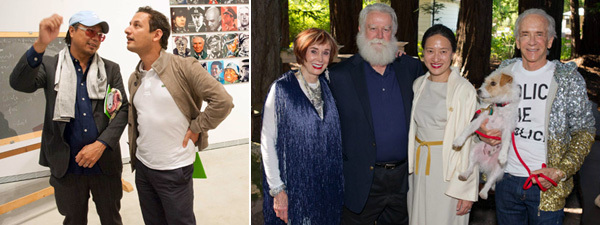 Left: Artist Rirkrit Tiravanija and CCA Wattis director Jens Hoffmann. Right: Norah Stone, artist James Turrell, Kyung Turrell, and Norman Stone. (Except where noted, all photos: Drew Altizer)