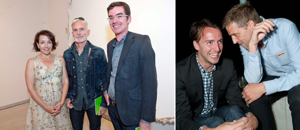 Left: Amy Stone, Robert Buck, and architect Martin Cox. Right: David Kordansky Gallery's Mike Homer and artist Matias Faldbakken.