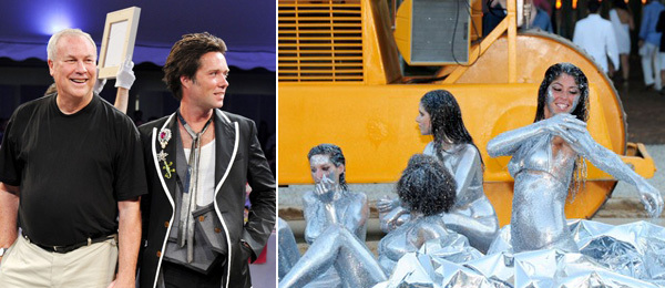 Left: Watermill founder Robert Wilson with Rufus Wainwright. Right: Performers in sodomise USa. (Photos: Billy Farrell)