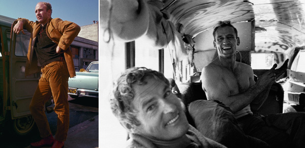 Left: Ken Kesey. Photo: Ted Streshinsky. © CORBIS. Right: Timothy Leary and Neal Cassady. Photo: Allen Ginsberg © CORBIS. From Alex Gibney and Alison Ellwood, Magic Trip, 2011, color film in 16 mm, 107 minutes.