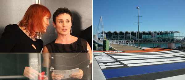 Left: Amanda Wright and Auckland Art Fair Director Jennifer Buckley. (Photo: Ren Kirk) Right: Auckland's Viaduct Event Centre, site of the Auckland Art Fair. (Photo: Anthony Byrt)