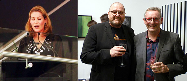 Left: Actor Jennifer Ward-Lealand. (Photo: Ren Kirk) Right: Curator Robert Leonard with Auckland Art Gallery Director Chris Saines. (Photo: Anthony Byrt)