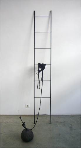 Anne Schneider, Untitled (Leiter) (Untitled [Ladder]), 2011, iron, concrete, paint, aluminum, rope, dimensions variable.