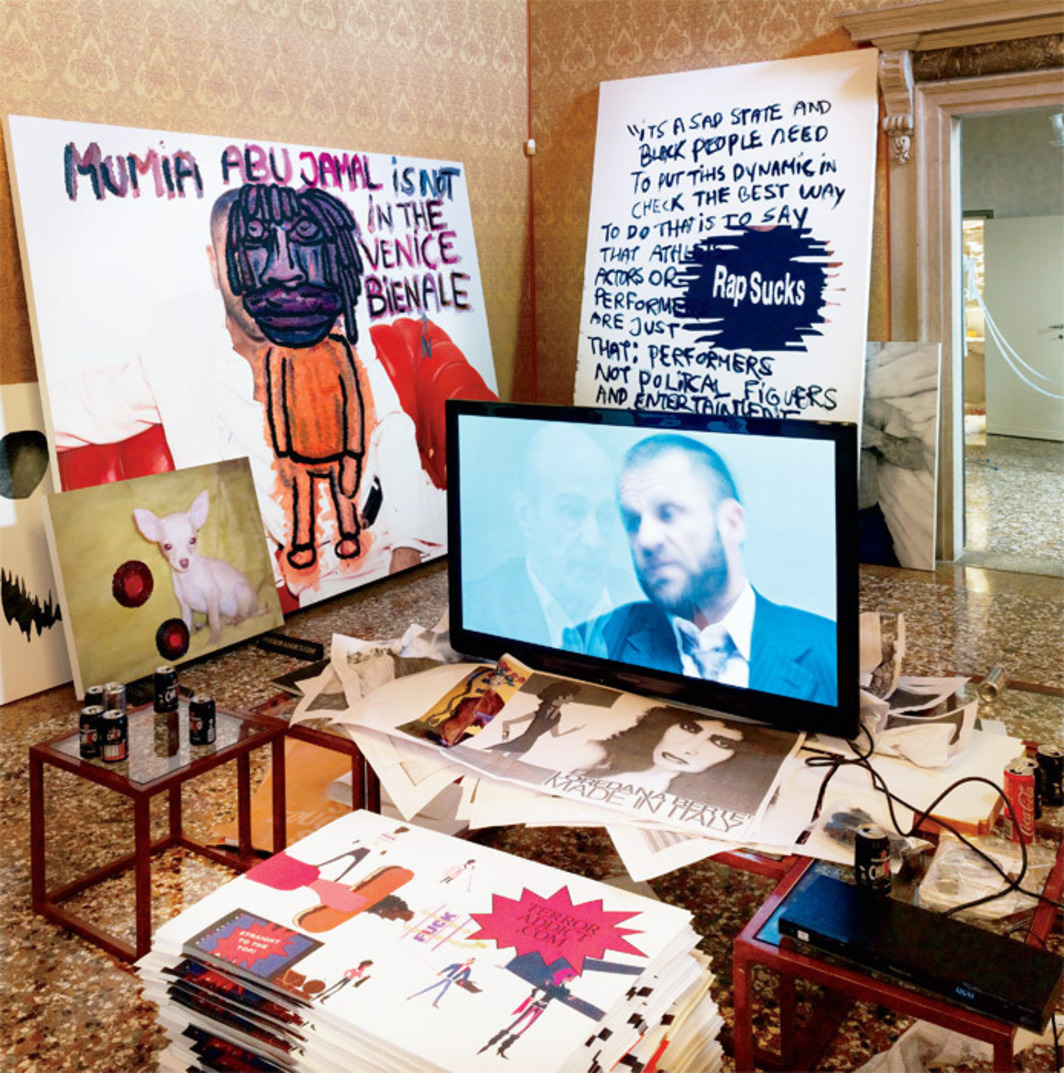 "View of ""Baton Sinister,"" 2011, an exhibition by Bjarne Melgaard with Paola Angelini, Michelangelo Corsaro, Cecilia Divizia, Elisa Fantin, Marco Fellini, Corinne Mazzoli, Nicole Moserle, Beatrice Piva, Valentina Roselli, Alessio Sacchetto, Valeria Romagnini Solfato and Davide Spillari, Palazzo Contarini Corfù, Venice. Shown: Room with works by Bjarne Melgaard installed by the artist. On-screen: Untitled (Bjarne Melgaard Interviews Leo Bersani), 2011."
