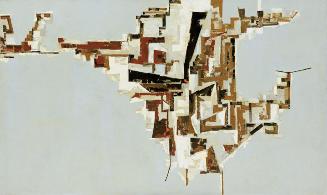 "Martin Barré, Greenwich, 1957, oil on canvas, 47 1/4 x 78 3/4""."