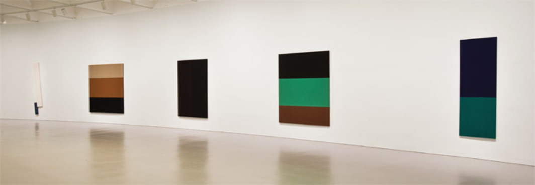 "View of ""Blinky Palermo: Retrospective 1964–77,"" 2011, Hirshhorn Museum and Sculpture Garden. From left: Untitled, ca. 1967; Untitled, 1969-70; Untitled, 1971, Untitled, 1968–69; Blau/Grün (Blue/Green), 1968. Photo: Lee Stalsworth."