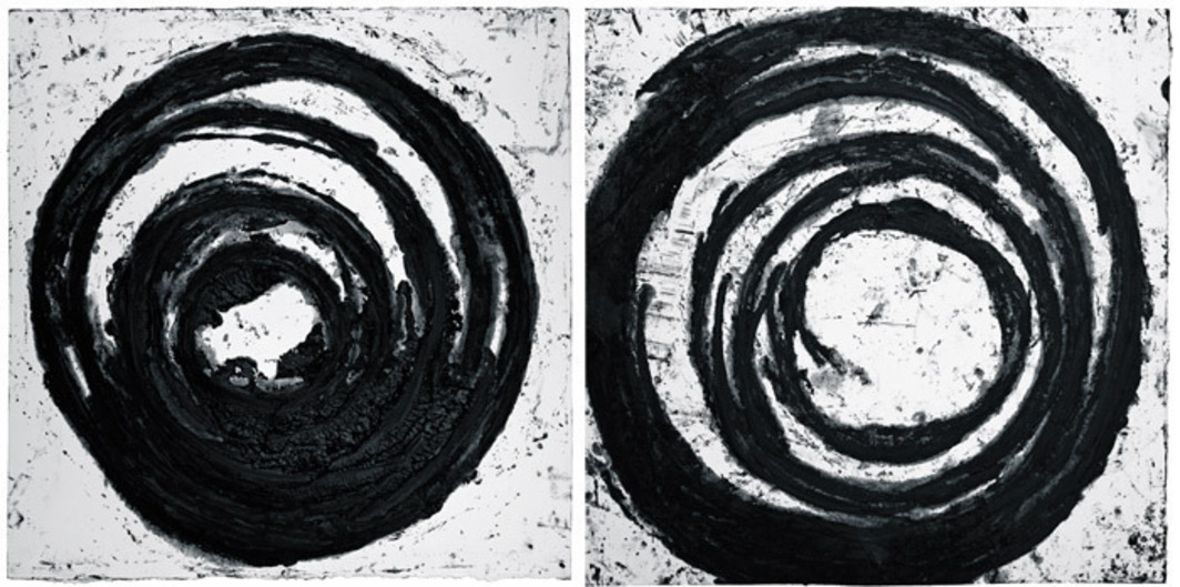 "Richard Serra, Black Tracks, 2002, paint stick on handmade paper, 51 1/4 x 50""."