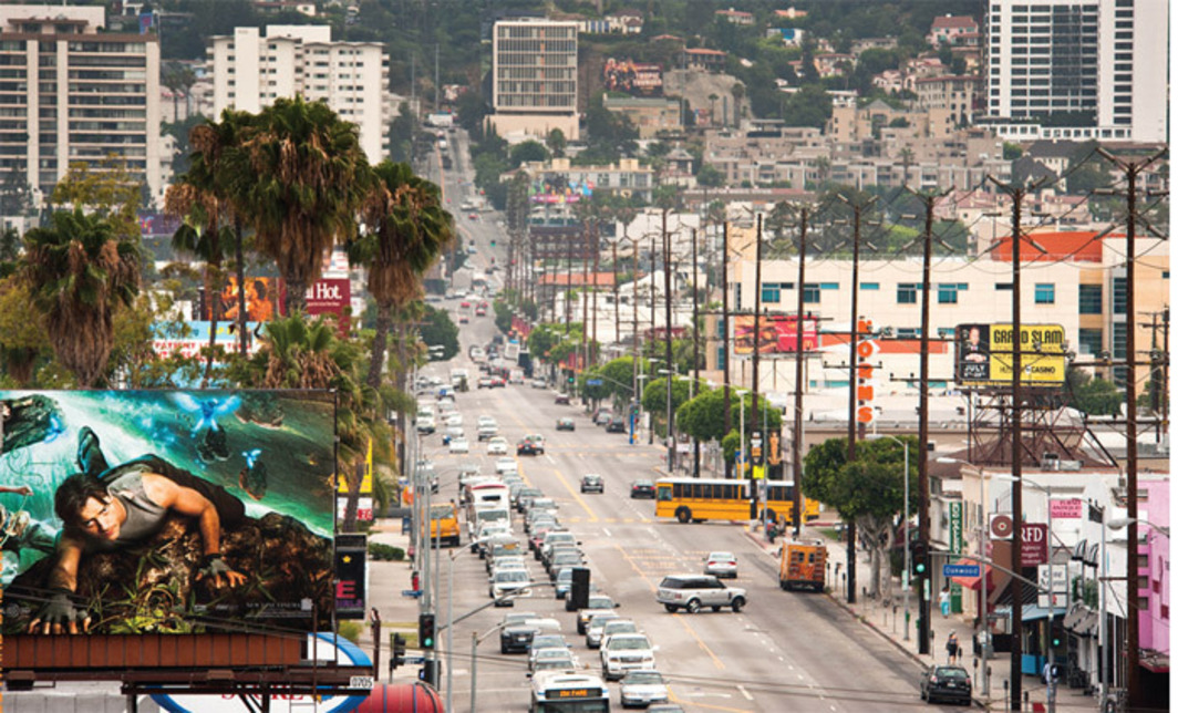 *View up La Cienega Boulevard toward the Hollywood Hills, Los Angeles, 2011.* Photo: Eduard Bähler.
