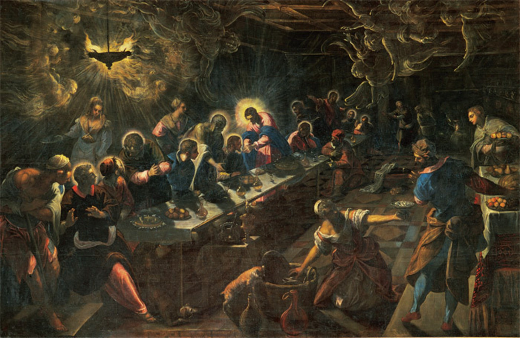 "Jacopo Tintoretto, Last Supper, 1591–94, oil on canvas, 12' × 18' 8""."