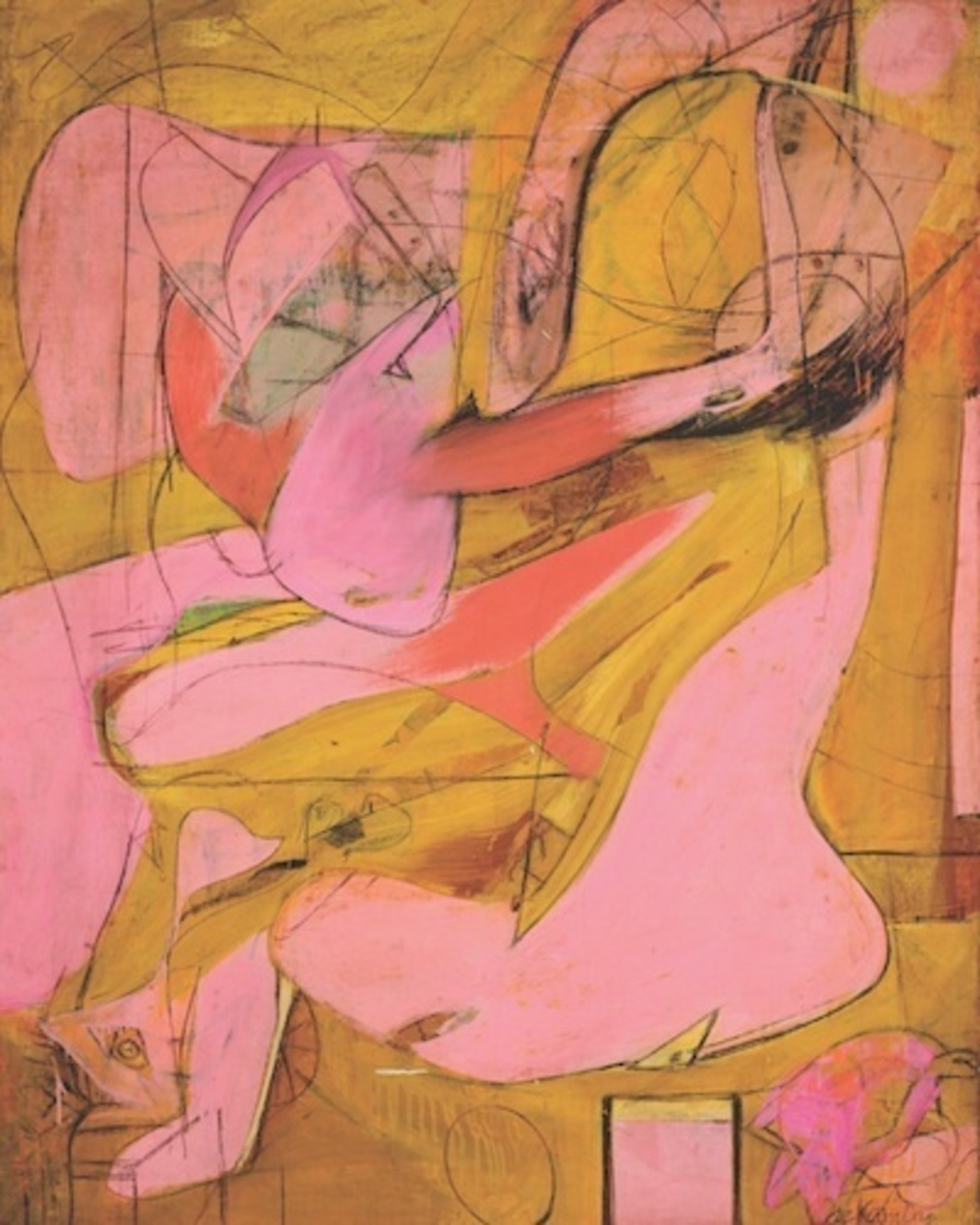 "Willem de Kooning, Pink Angels, 1945, oil and charcoal on canvas, 52 x 40""."