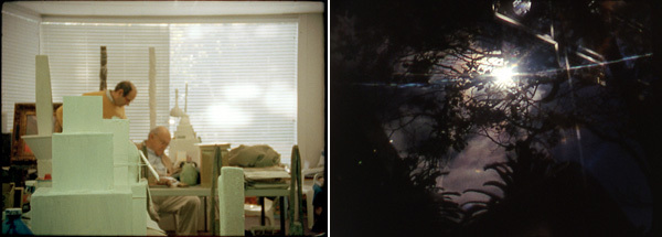 Left: Tacita Dean, Edwin Parker, 2011, still from a color film in 16 mm, 29 minutes. Right: Nathaniel Dorsky, The Return, 2011, still from a color film in 16 mm, 27 minutes.