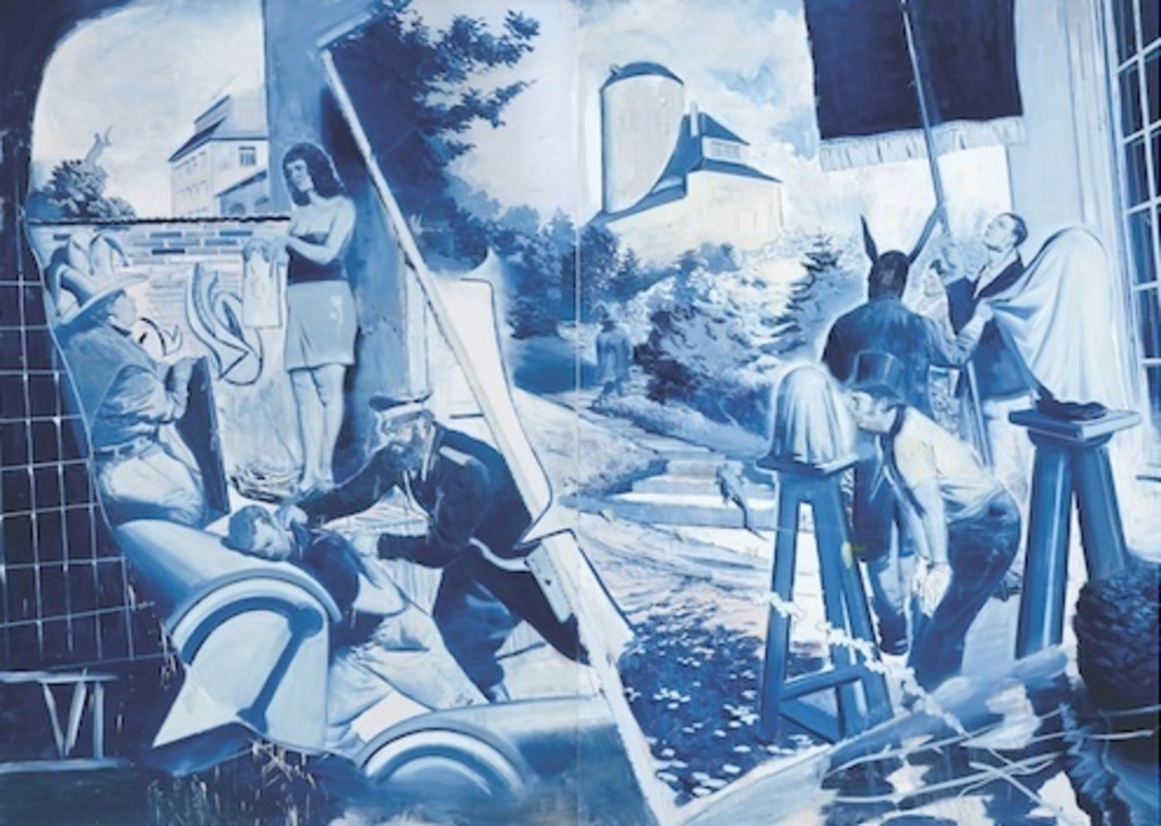"Neo Rauch, Das Blaue (The Blue), 2006, oil on canvas, 9' 101⁄8"" x 13' 103⁄8""."