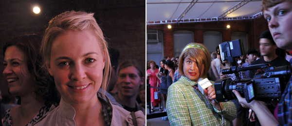 Left: Writer Nikki Columbus (left) and dealer Elizabeth Dee (center). Right: WOW TV's Damiana Garcia. (Photos: Miriam Katz)