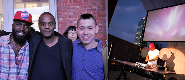 Left: Artists Derrick Adams and Clifford Owens with MoMA PS1 curator Christopher Lew. (Photo: Miriam Katz) Right: AraabMuzik. (Photo: Jacqueline Iannacone/elkstudios.com)