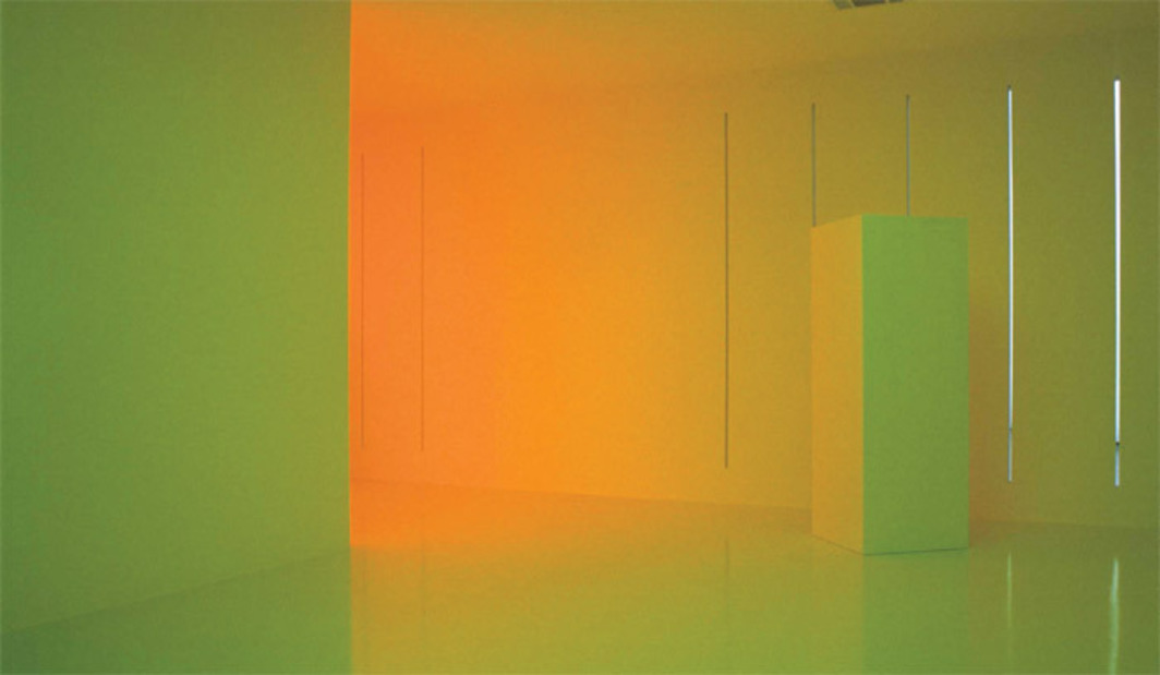 Carlos Cruz-Diez, Chromosaturation (detail), 1965/2011, three chromo-cubicles (fluorescent light with blue, red, and green filters), dimensions variable.