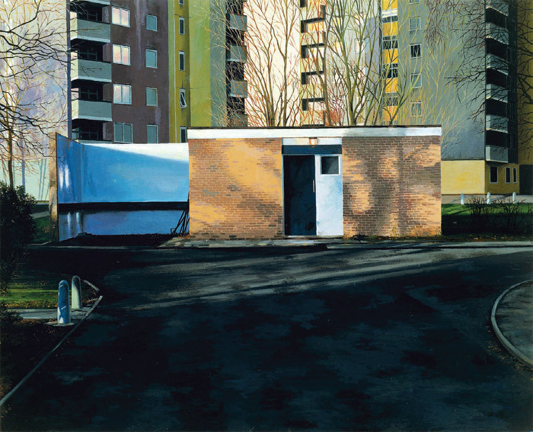 "George Shaw, Scenes from the Passion: The Cop Shop, 1999–2000, Humbrol enamel on board, 17 x 20 7/8""."