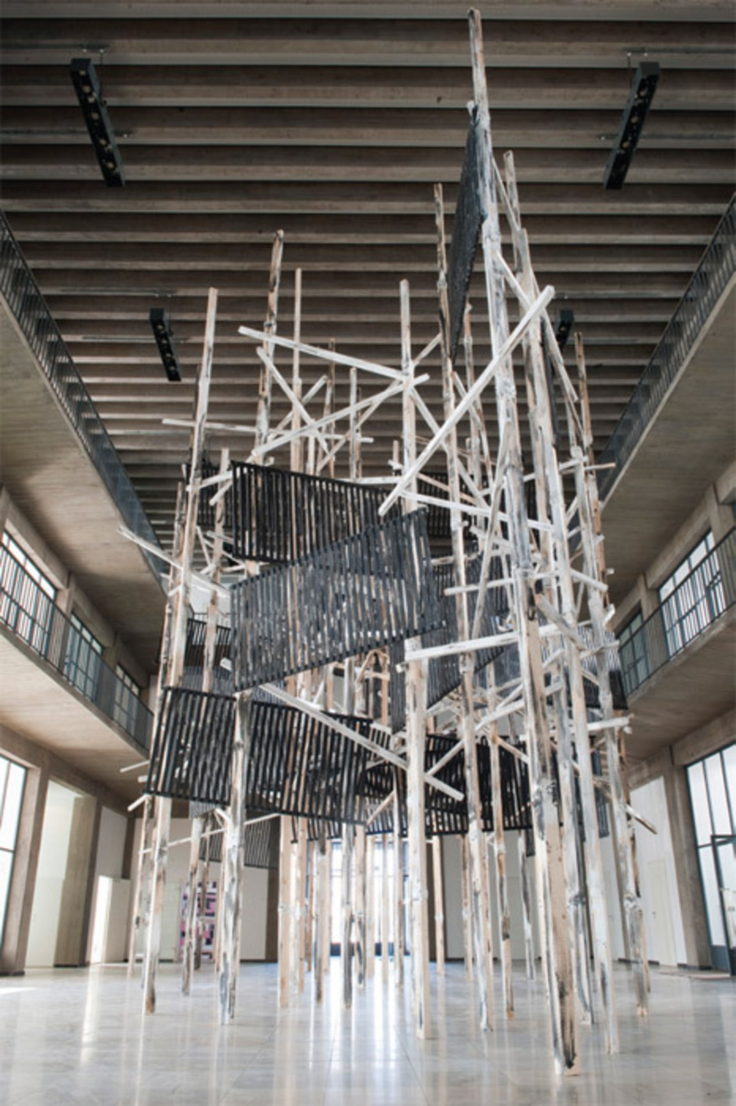 "Phyllida Barlow, untitled: structure, 2011, wood, paint, plaster, and screws,  approx. 33' x 56' x 25' 6"". Installation view."