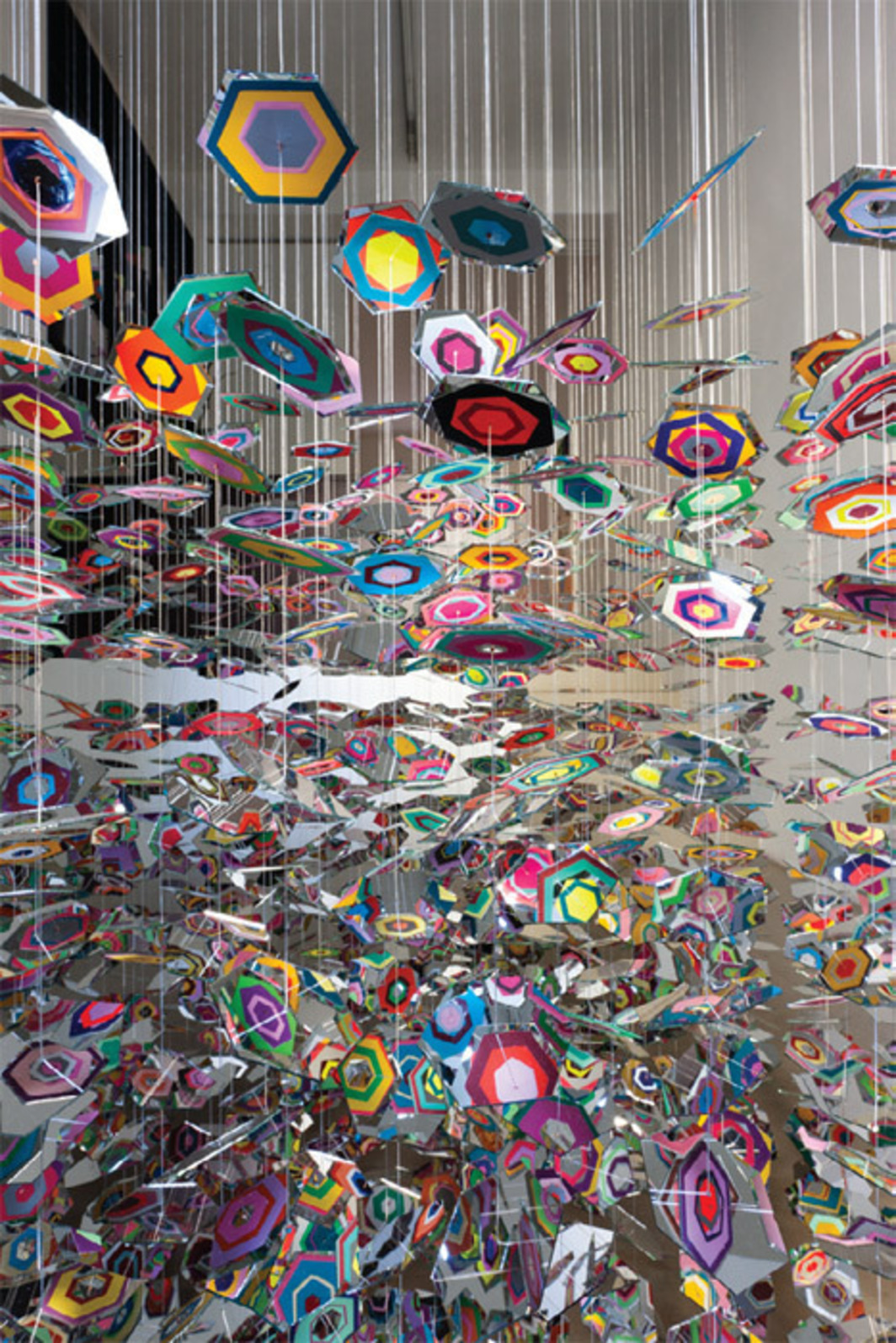 Pae White, Better Places, 2011, mirror, aluminum thread, painted paper, vinyl, dimensions variable.