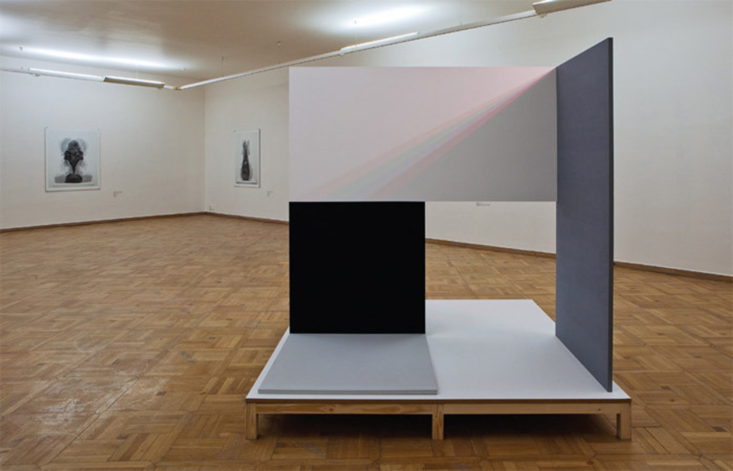 "View of ""Jiří Thýn,"" 2011. Foreground: Untitled, 2011. Background, from left: Space, Abstraction 2, 2011; Space, Abstraction 1, 2011."