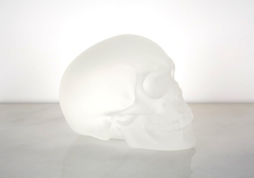 "Sherrie Levine, Crystal Skull, 2011, cast glass, 5 1/2 × 7 × 4 1/2 "" © Sherrie Levine. Photograph by Davina Semo."