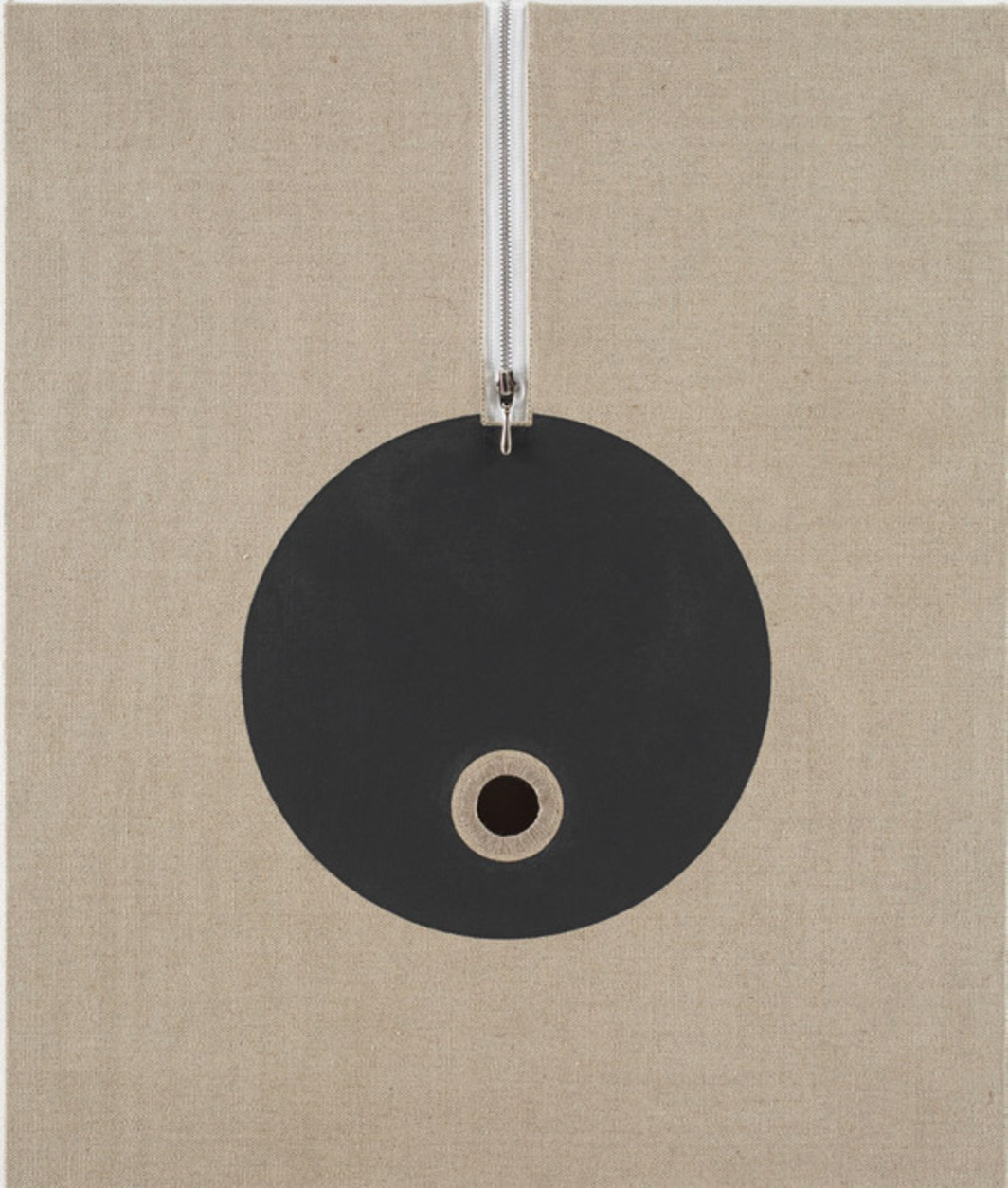 "Donald Moffett, Lot 081907 (IOo), 2007, oil, cotton, aluminum, rabbit-skin glue, and polyvinyl acetate on linen, 24 x 20""."