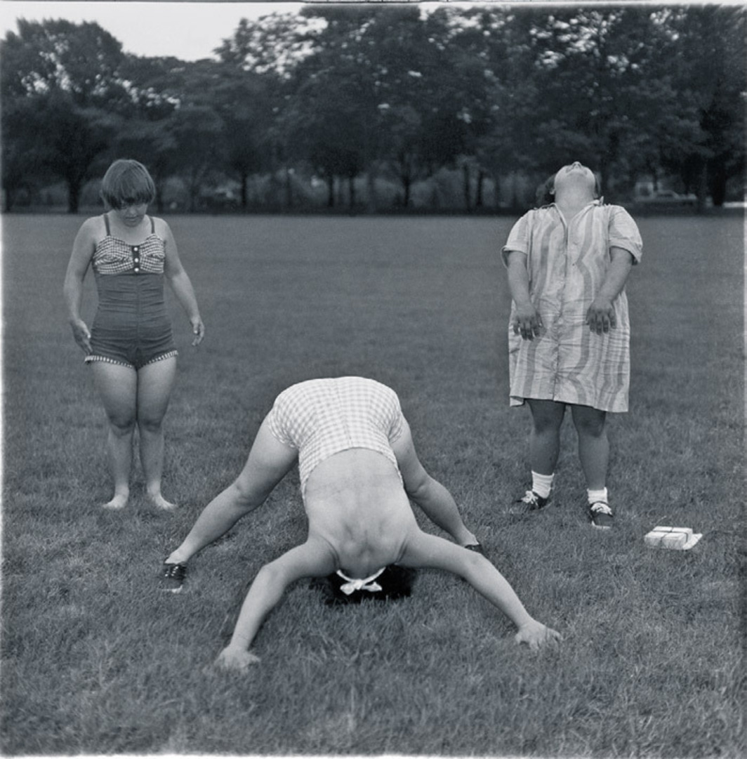 "Diane Arbus, Untitled (6), 1970–71, black-and-white photograph, 20 x 16""."
