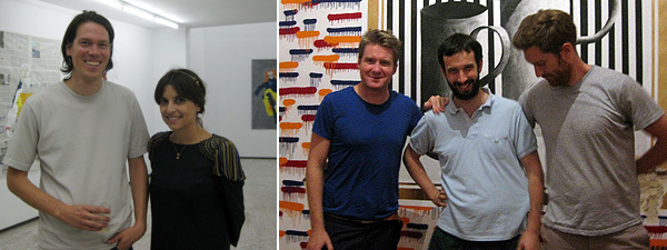 Left: Artist Gabriel Vormstein and The Breeder's Nadia Gerazouni. Right: Dealer Toby Webster, artist Nicolas Party, and dealer Andrew Hamilton.