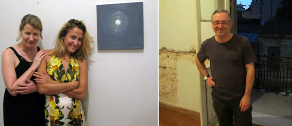 Left: Artist Ann Craven and curator Gea Politi. (Photo: Kate Sutton) Right: Artist Peter Halley. (Photo: David Velasco)