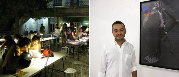 Left: At the ReMap headquarters. Right: Dealer Mehdi Chouakri.