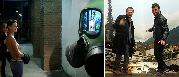 Left: A visitor to Electroboutique's Big Green Head, 2011, at the Moscow Biennale. (Photo: Ilya Murashkin) Right: Artists Roberto Cabot and Ahmet Otgut.