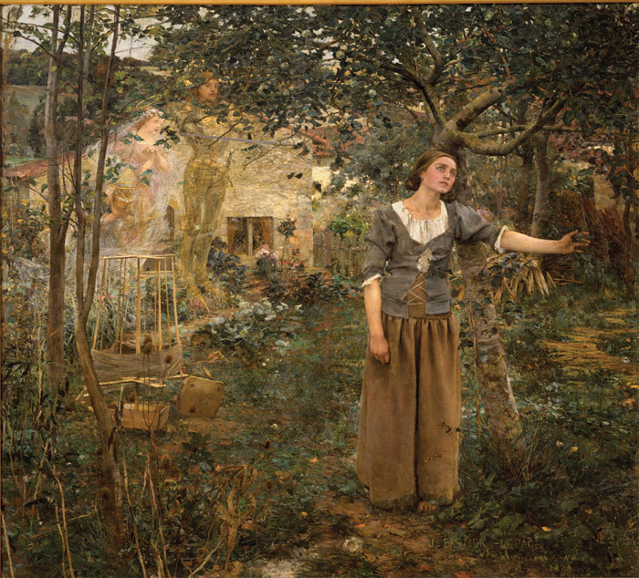 "*Jules Bastien-Lepage, _Joan of Arc_, 1879*, oil on canvas, 100 x 110""."