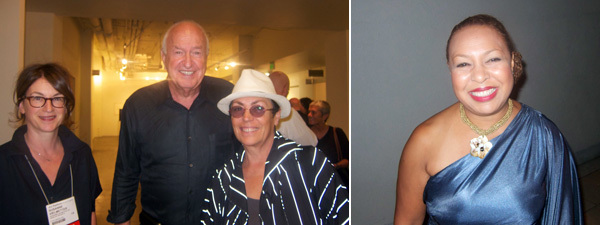 Left: Dealer Susanne Vielmetter with collectors Don and Mera Rubell. Right: Curator Kellie Jones.