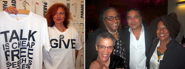 Left: West of Rome director Emi Fontana. Right: Artists Maren Hassinger, Ulysses Jenkins, Ivan White, and Senga Nengudi.
