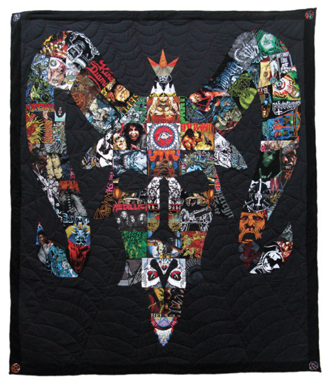 "Ben Venom, Don't Wake Me Lucifer!, 2010, handmade quilted heavy metal T-shirts, fabric, batting, thread, 83 x 95""."
