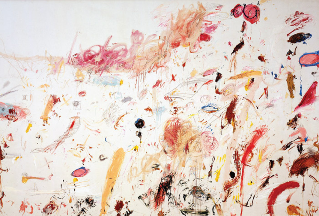 "Cy Twombly, Triumph of Galatea, 1961, oil, crayon, and pencil on canvas, 9' 7 7/8"" x 15' 10 3/8""."