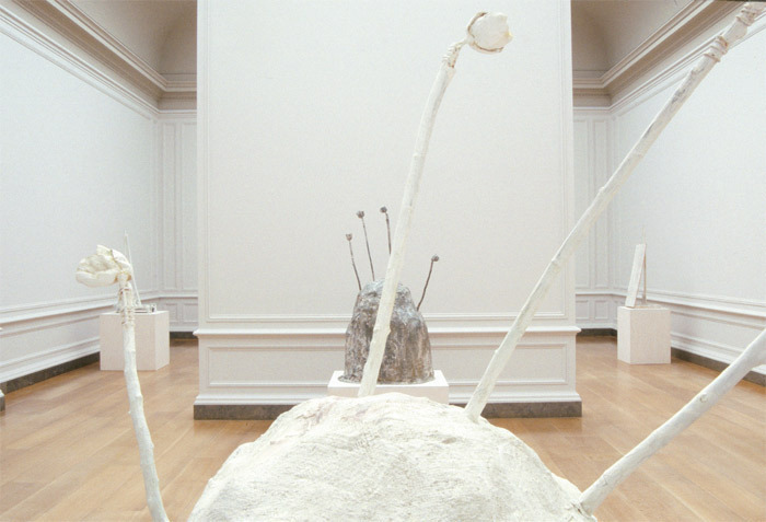 "View of ""Cy Twombly: The Sculpture,"" 2001, National Gallery of Art, Washington, DC. Foreground: Thermopylae, 1991. Background, from left: Untitled, 1984; Thermopylae, 1992; Untitled, 1987."