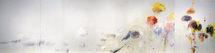 "Cy Twombly, Say Goodbye, Catullus, to the Shores of Asia Minor, 1994, triptych, oil, acrylic, crayon, and graphite on canvas, left panel 13' 1 1/2"" x 9' 9""; central panel 13' 1 1/2"" x 32' 6""; right panel 13' 1 1/2"" x 9' 9""."