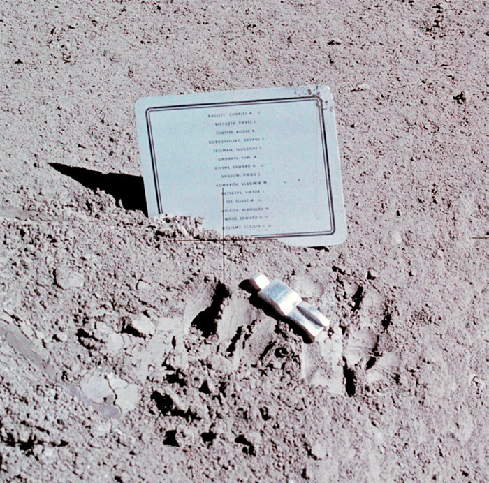 *View of Paul Van Hoeydonck_, Fallen Astronaut_, 1971, and commemorative plaque,* Hadley-Apennine  lunar landing site, August 1, 1971.