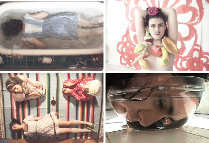 Clockwise from top left: *Nina Yuen, _Alison_, 2006*, still from a color video, 7 minutes 41 seconds. *Nina Yuen, _Rimbaud_, 2007*, still from a color video, 2 minutes 33 seconds. *Nina Yuen, _White Blindness_, 2009*, still from a color video, 5 minutes 31 seconds. *Nina Yuen, _Don_, 2006*, still from a color video, 8 minutes 1 second.